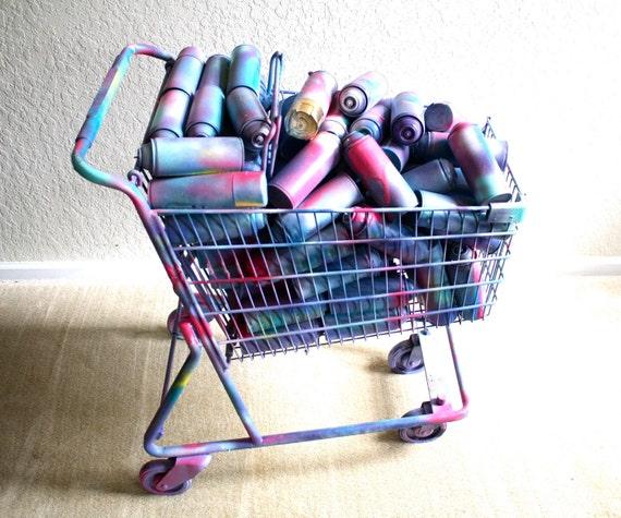 Shopping Cart Art Sculpture Spray Paint Love Peace Pop Etsy