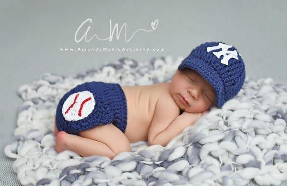 35897b1ec3931 Newborn Baby Boy Baseball cap Diaper Cover crochet Baseball