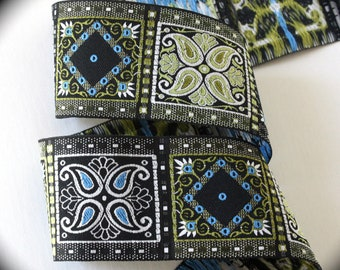 "Da Vinci Woven Jacquard 1 7/8"" Black, White, Turquoise and Olive  Da vinci5- Limited Availability - See Listing"