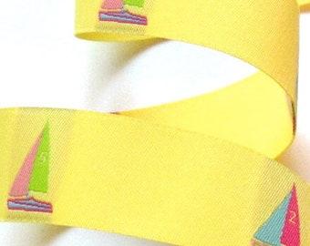 "Woven  Ribbon -1"" Yellow, Pink, Blue, Purple, Lime Sailboat Ribbon"