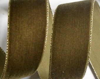 "Velvet  Trim , 1"" x 2 Yds  Color - Lt Brown with Gold Edge  - -Limited Availability"