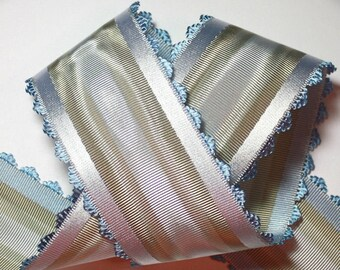 """French Ribbon - 1 yd x 2 1/8"""" Blues, Grays and Taupe 100% Rayon - Made in France"""