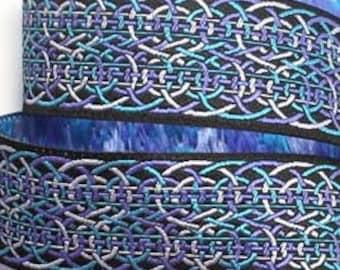1 78 x 1 yard Crazy Eight Design Black Woven Jacquard Ribbon Purple Turquoise