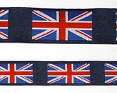 Union Jack Flag or British Flag Ribbon - 1 quot x 2, 3 OR 5 Y blue, red and white (top ribbon only)