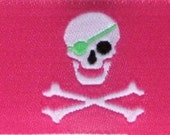 Skull and Crossbones Ribbon 1 quot x 2 yards Pink, Lime, Black and White Limited Availability