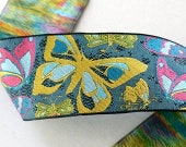 Butterfly2 1 7 8 quot x 1 yard in Black, Teal, Yellow, Blues and Pinks Woven Jacquard Ribbon