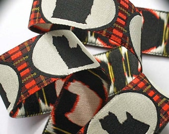 """Yorkie Ribbon  1"""" x 2 yards Yorkshire Terrier in Red, Black and Creme Dog Ribbon"""