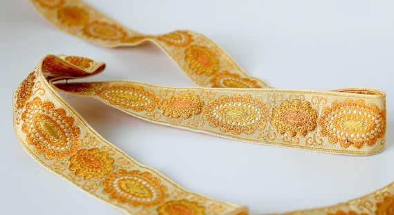 Vintage French Ribbon 1 78 x 1 yard  Trapunto Design in WhiteOff White and Metallic Gold Accents