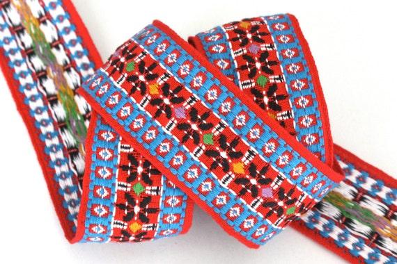 2 x 1 yard Blue Yellow Red and White Vintage Jacquard Ribbon