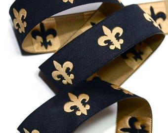 """Fleur De Lis Woven Ribbon in 1""""  - Black and Gold DOUBLE DAMASK - Geaux Saints - New Orleans"""