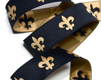 """Woven Ribbon - 1"""" Fleur De Lis Woven Ribbon in - Black and Gold - Geaux Saints New Orleans"""
