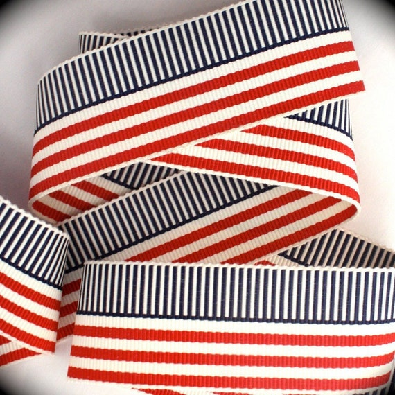 VINTAGE RAYON RED WITH WHITE AND BLUE PATRIOTIC GROSGRAIN RIBBON TRIM  1 YARD