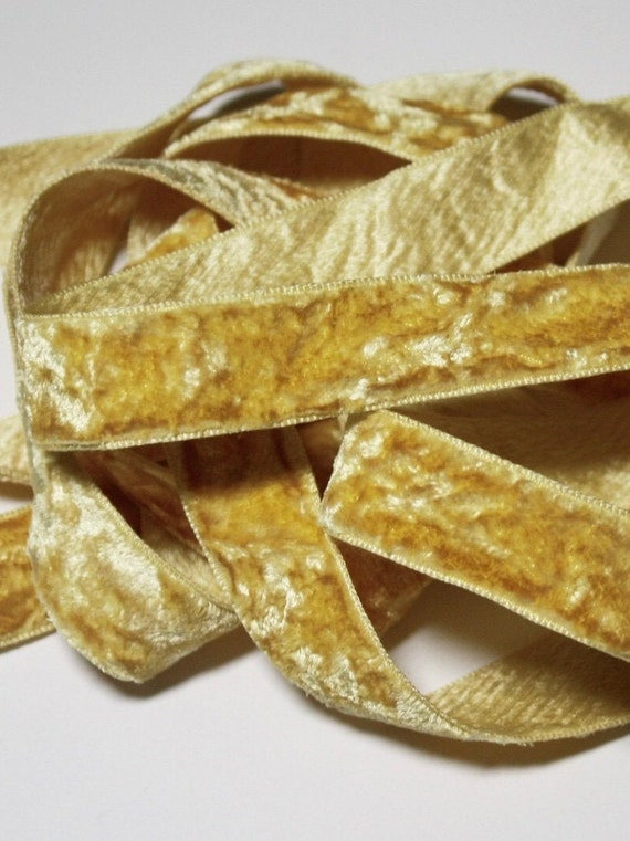VINTAGE FRENCH SILK YELLOW OMBRE RIBBON TRIM  3 YARDS