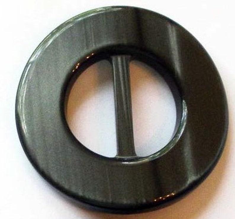 1 14 Thick Buckle X 2 12 Custom Gray Gunmetal Round Gray ID Acrylic Round  Buckle