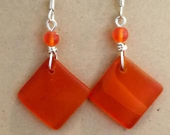 Tangerine Beach Glass Earrings
