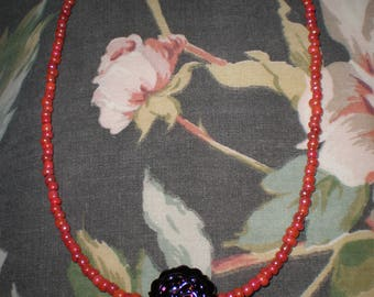 Black Raspberry Purple Rose Lolly Pop Shape Bead on Coral Red Beaded Necklace