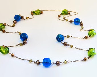 Blue green lampwork long antique bronze pearl and Swarovski crystal necklace