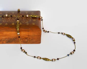 Bronze garnet pink long tibetan Swarovski crystal elegant necklace