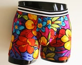 Tropical Summer Floral Party Swimwear, Bathing Trunks, Soft Lycra. Foam or Pool Party. Extra room in pouch. Made for comfort and looks