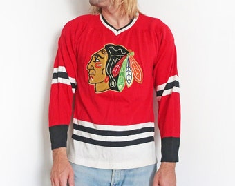 vintage jersey / Chicago Blackhawks / 70s hockey jersey / 1970s WinnWell Chicago Blackhawks durene hockey jersey Medium