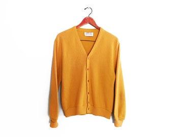 vintage cardigan / grandpa cardigan / mustard cardigan / 1970s mustard yellow grandpa cardigan Medium
