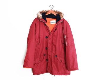 5c295aab vintage jacket / snorkel parka / N3B parka / 1970s burgundy N3B snorkel  parka winter jacket Small