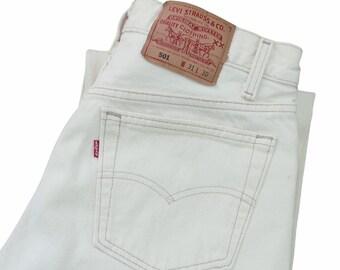 vintage Levis denim / Levis 501 / high waist jeans / 1990s cream Levis 501 high waist boyfriend jeans 29