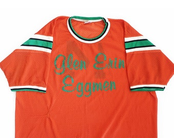 vintage t shirt / jersey shirt / striped jersey / 1950s orange mesh durene striped jersey ringer shirt Large