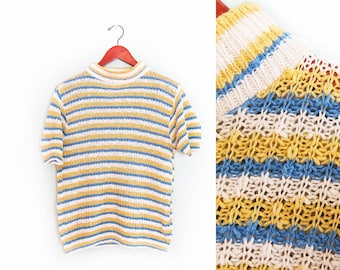 vintage t shirt / striped / mock neck / grunge / 1960s blue and yellow striped knit sweater shirt Small