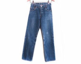2a8a41f1 vintage Levis denim / Levis 701 / high waist jans / 1980s Levis 701 Student  high waist boyfriend jeans petite 25