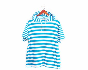 vintage t shirt / striped t shirt / hoodie t shirt / 1990s turquoise striped short sleeves hoodie t shirt Large