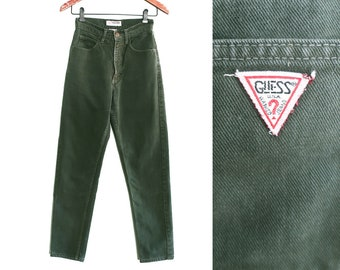 e1b8b542b3e vintage Guess jeans   high waist denim   Guess Jeans USA   1990s green high  waist skinny Guess jeans petite 24