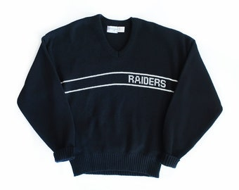 vintage sweater   Cliff Engle sweater   Raiders sweater   1980s black Raiders  Cliff Engle NFL sweater XL d037278b4437