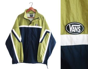 vintage windbreaker / Vans windbreaker / 90s skateboarding / 1990s VANS half zip windbreaker Large