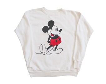 vintage sweatshirt / Mickey Mouse sweatshirt / vintage Disney / 1980s white Mickey Mouse Disney sweatshirt Small