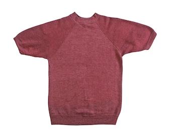 vintage sweatshirt / raglan sweatshirt / 60s sweatshirt / 1960s burgundy raglan sweatshirt short sleeve Small