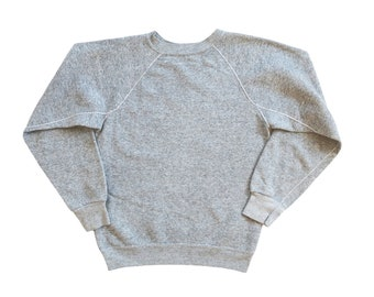 vintage sweatshirt / raglan sweatshirt / grey sweatshirt / 1970s heather grey tri blend raglan gusset sweatshirt Small