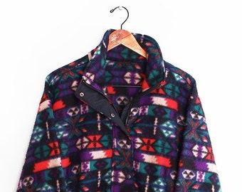 c79e73ff915 vintage sweatshirt   90s fleece   Navajo fleece   1990s baggy Navajo fleece  half zip sweatshirt Large
