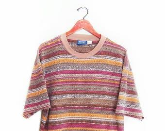vintage t shirt / striped t shirt / oversize t shirt / 1980s tribal striped OP surf t shirt baggy t shirt Medium