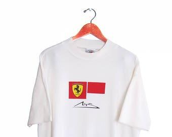 vintage t shirt / Ferrari t shirt / mock neck t shirt / 1990s Ferrari mock neck white t shirt XL