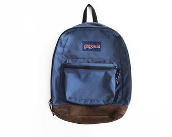 f4073d4320db vintage backpack   Jansport backpack   90s backpack   1990s blue Jansport  suede bottom backpack