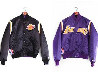 f8ffb94c4 vintage jacket   Los Angeles Lakers   Lakers jacket   1980s reversible LA  Lakers Starter satin jacket Large