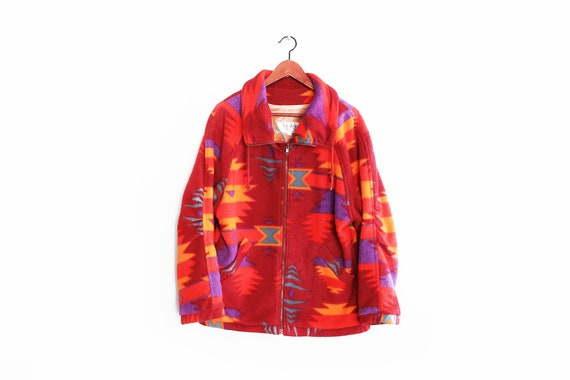 vintage jacket / navajo fleece / 90s fleece jacket