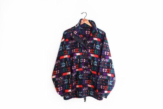 vintage sweatshirt / 90s fleece / Navajo fleece /