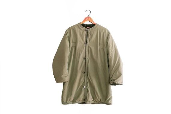 vintage army jacket / army jacket liner / deep pil