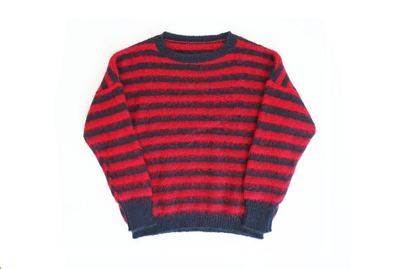 vintage sweater / mohair sweater / striped sweater