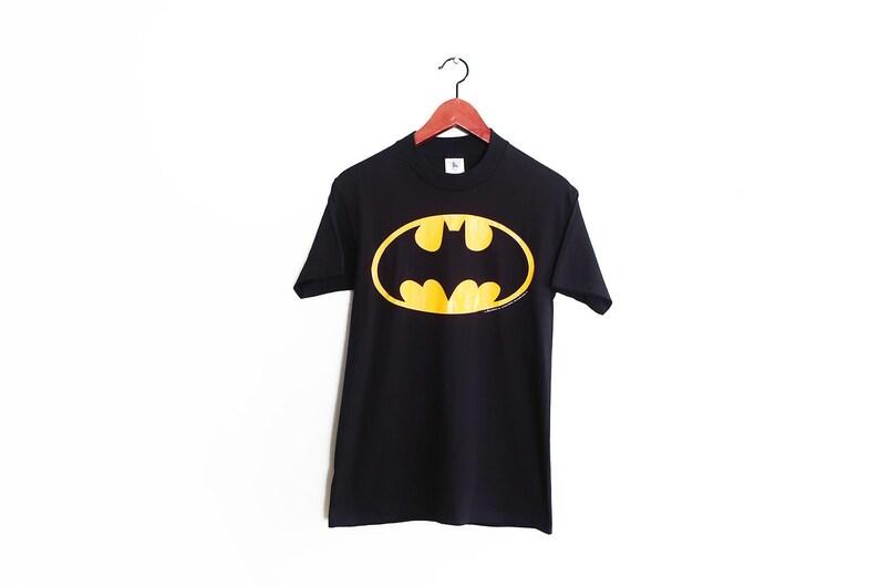 outlet store 29613 767b0 vintage t shirt / Batman t shirt / DC Comics shirt / 1980s black Batman  logo DC Comics t shirt Small