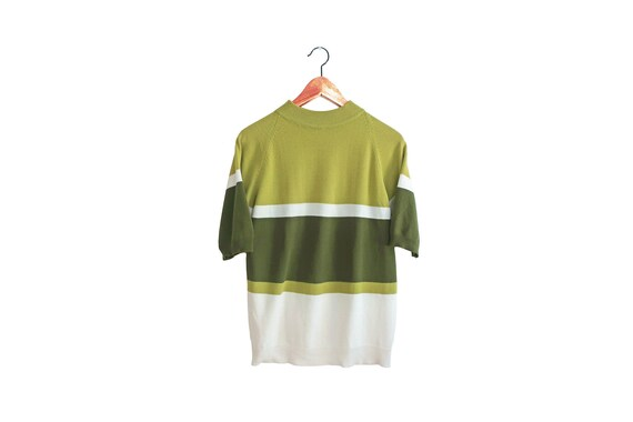 vintage t shirt / striped shirt / striped mock nec