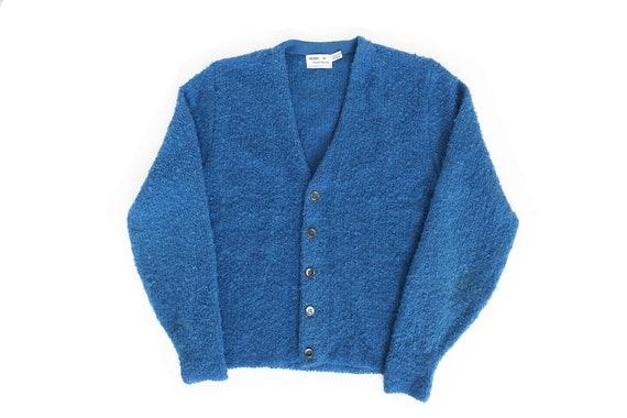 vintage cardigan / mohair cardigan / blue cardigan