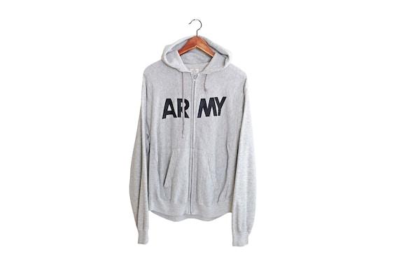 vintage sweatshirt / Army hoodie / reverse weave s